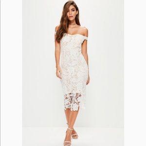 Lace Midi Bardot Dress | White
